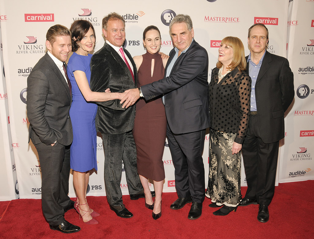Mandatory Credit: Photo by MediaPunch/REX Shutterstock (5480380a) Allen Leech, Elizabeth McGovern, Hugh Bonneville, Michelle Dockery, Jim Carter, Phyllis Logan and Kevin Doyle 'Downton Abbey - The Final Season' TV series premiere, New York, America - 07 Dec 2015