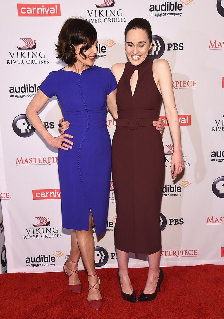 "NEW YORK, NY - DECEMBER 07: Actors Elizabeth McGovern (L) and Michelle Dockery attend the ""Downton Abbey"" Series Season Six premiere at Millenium Hotel on December 7, 2015 in New York City. (Photo by Gary Gershoff/WireImage)"