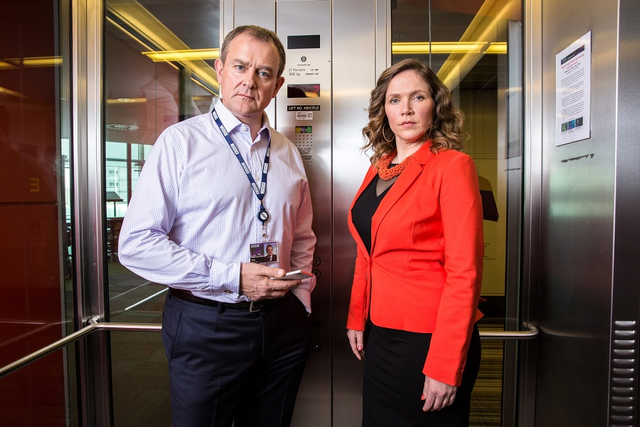 Bonneville as Ian Fletcher and Jessica Hynes as Siobhan Sharpe in 'W1A' (BBC / Jack Barnes)